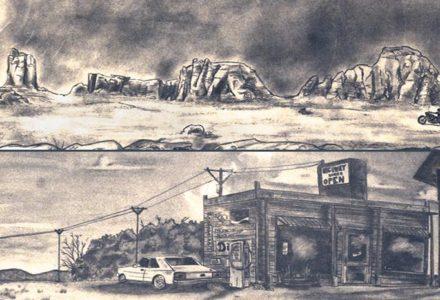 dessins au crayon de papier de paysages américain