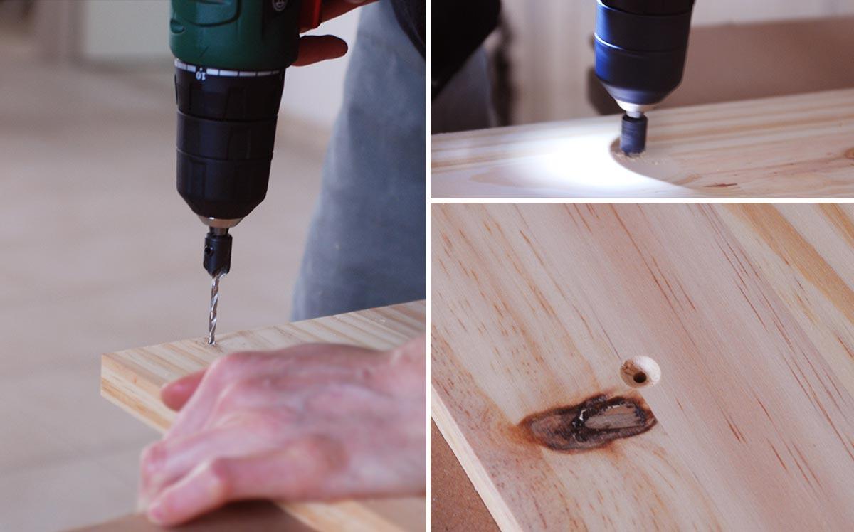 Un planche de bois est percé et le trous est chanfreiné