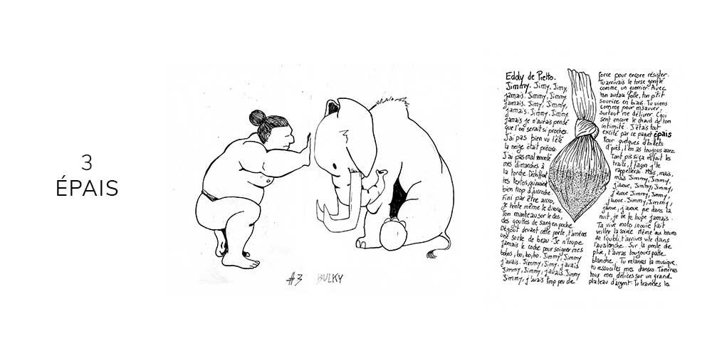 Dessin noir et blanc d'un sumo et un éléphant
