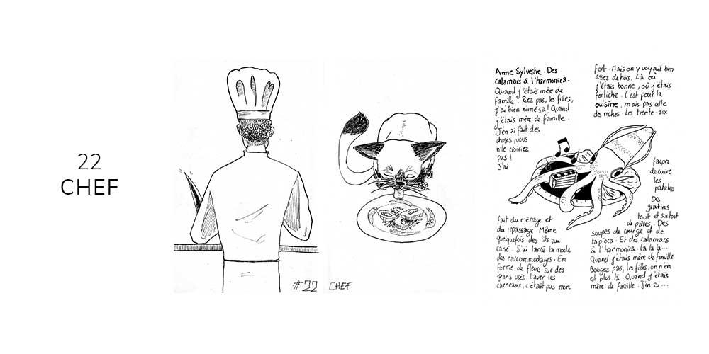 Dessin noir et blanc d'un chef cuisinier