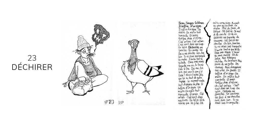 Dessin noir et blanc d'un pigeon