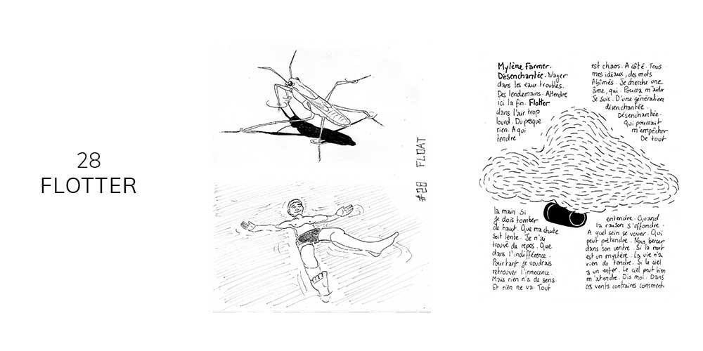 Dessin noir et blanc d'un home qui flotte sur l'eau