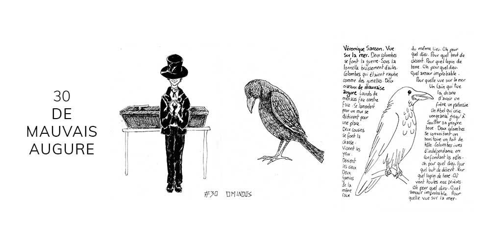 Dessin noir et blanc d'un corbeau
