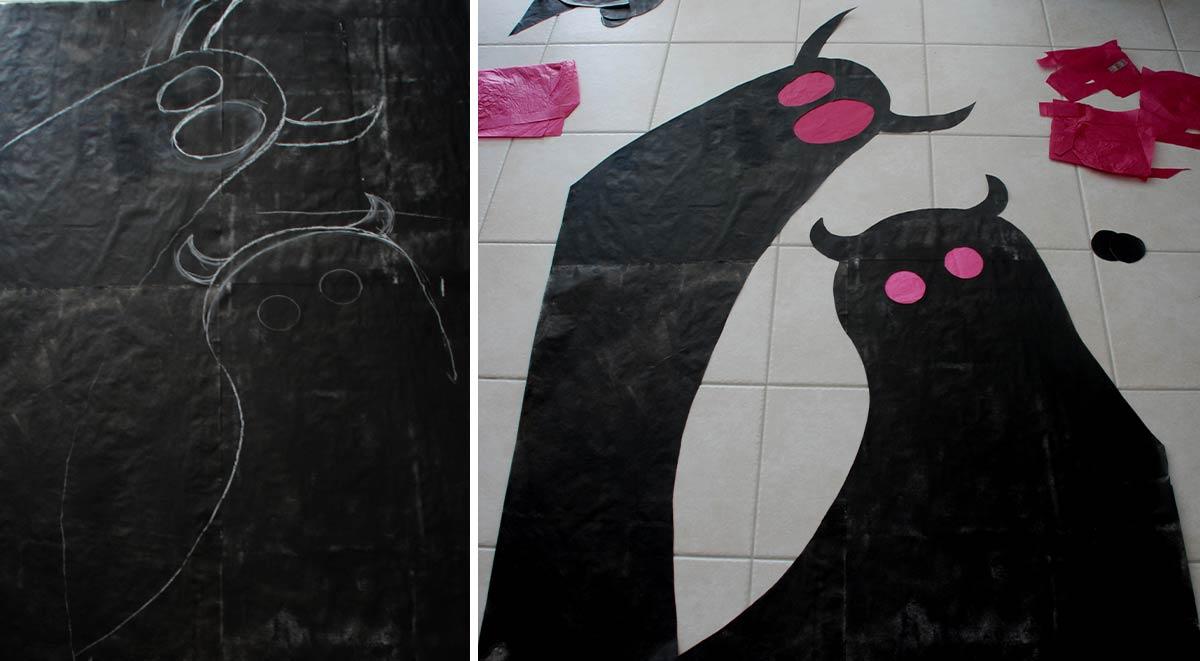 monstres d'halloween fabriqué sur papier