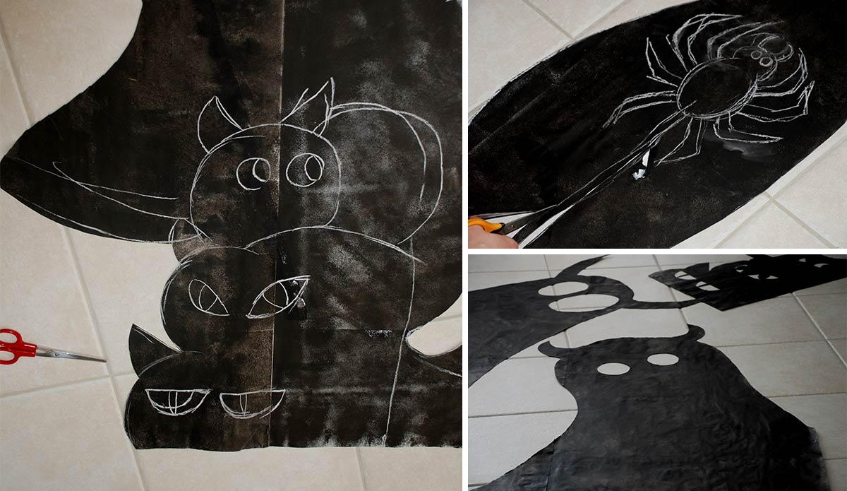 dessin de monstres sur grande feuilles noires