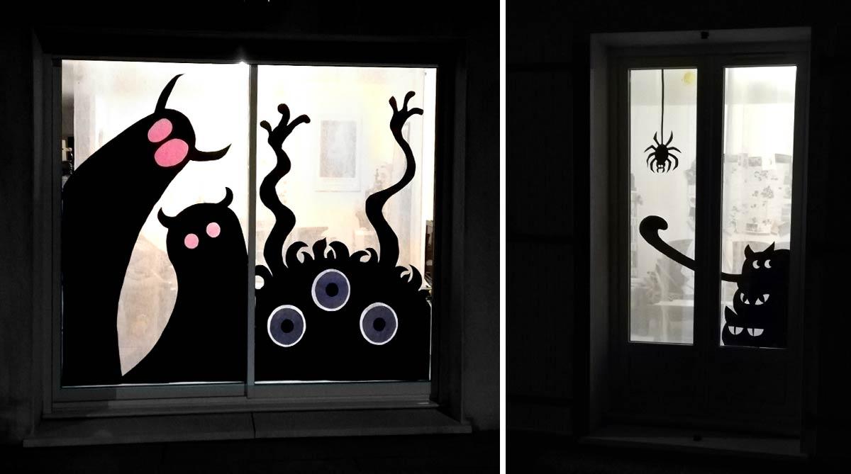 monstres d'halloween en papier collés sur les vitres